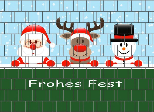 Weihnachten Frohes Fest - Zaun Sichtschutzstreifen