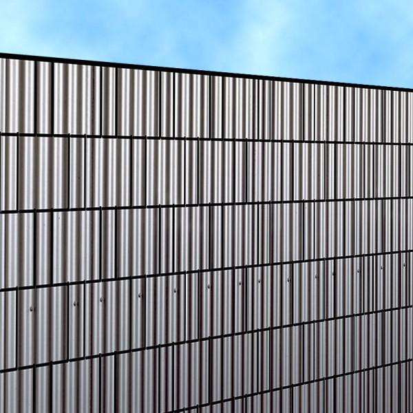 Blechwand - Bedruckter Sichtschutz Streifen Rolle Doppelstab Zaun