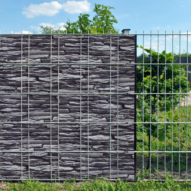 bedruckter sichtschutz als alternative zur gabione zaundruck shop sichtschutzstreifen. Black Bedroom Furniture Sets. Home Design Ideas