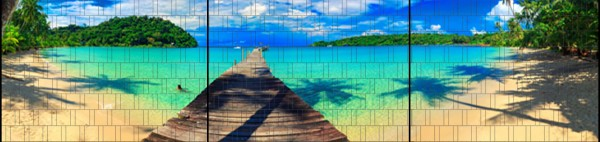 Karibik - Panorama XXL bedruckte Sichtschutzstreifen für Doppelstabmattenzaun