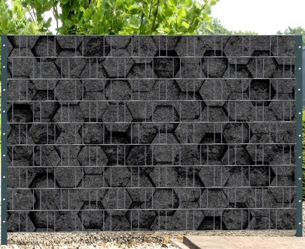Florenz Honeycomb - Melange mit schwarzen Motivdruck