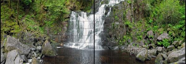 Waldwasserfall - Panorama XL bedruckte Sichtschutzstreifen für Doppelstabmattenzaun