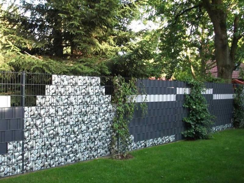 Zaun Sichtschutz Granitwürfel