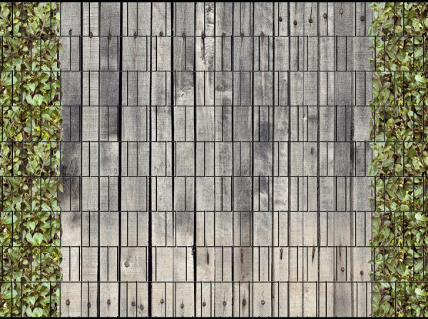 Holzwand Kirschlorbeer Doppelstabmatten Sichtschutz Zaundruck