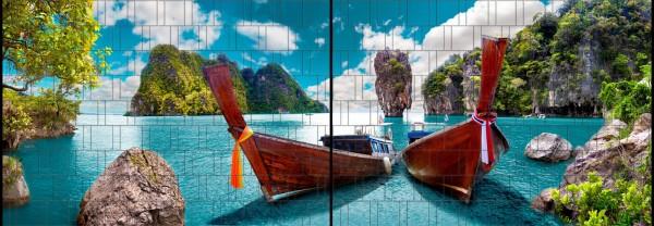 Boote - Panorama XL bedruckte Sichtschutzstreifen für Doppelstabmattenzaun