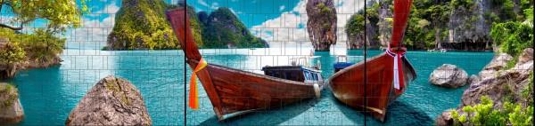 Boote - Panorama XXL bedruckte Sichtschutzstreifen für Doppelstabmattenzaun