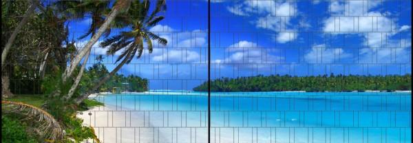 Lagune - Panorama XL bedruckte Sichtschutzstreifen für Doppelstabmattenzaun