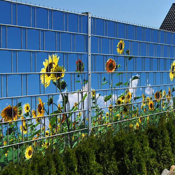 Sonnenblumen - Bedruckter Sichtschutz Streifen Rolle Doppelstab Zaun
