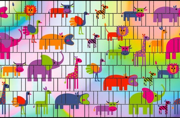 Tiere - Bedruckte Sichtschutzstreifen für Zäune Klemmschienen