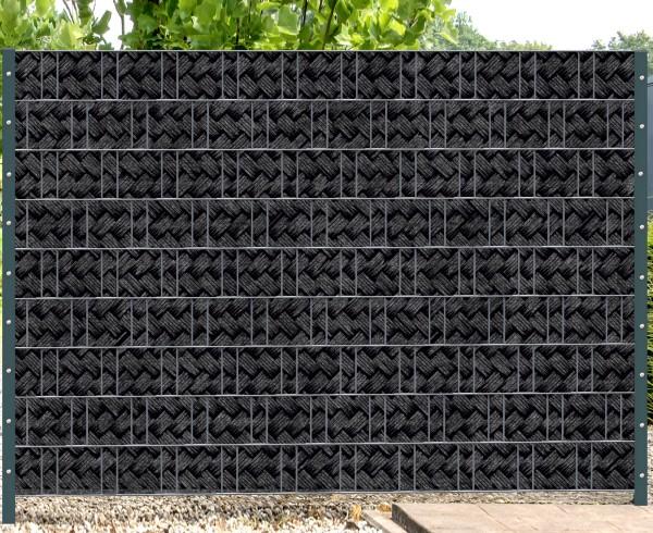 Florenz Korbgeflecht - Melange mit schwarzen Motivdruck
