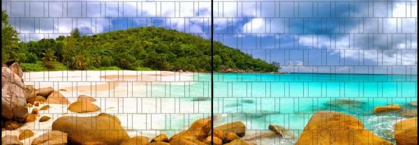 Lagune 2 - Panorama XL bedruckte Sichtschutzstreifen für Doppelstabmattenzaun