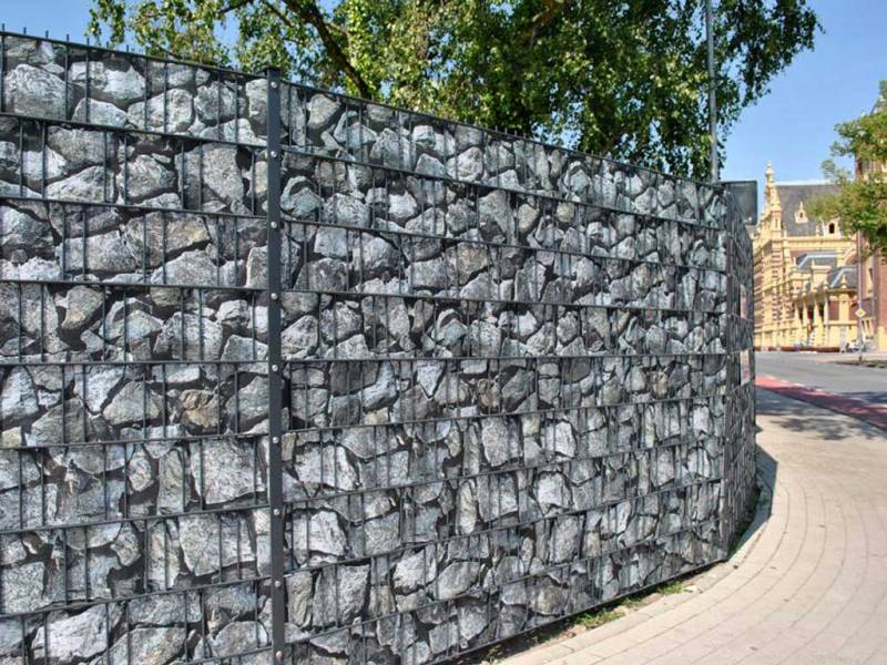 Zaun Sichtschutz Bruchstein groß