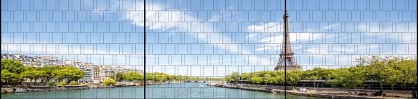 Eifelturm - Panorama XXL bedruckte Sichtschutzstreifen für Doppelstabmattenzaun