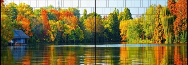 Blätterwald - Panorama XL bedruckte Sichtschutzstreifen für Doppelstabmattenzaun