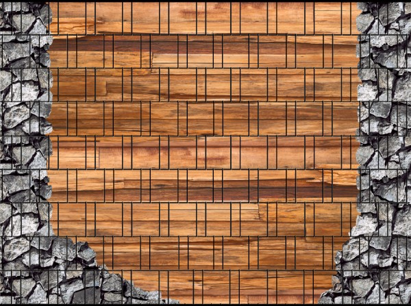 Holz & Bruchstein groß - Bedruckter Sichtschutzstreifen Stabmattenzaun