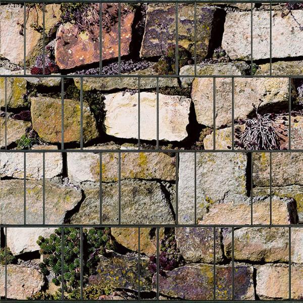 Steingewächse - Bedruckter Sichtschutz Streifen Rolle Doppelstab Zaun