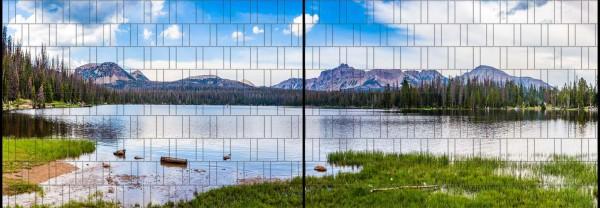 Bergsee - Panorama XL bedruckte Sichtschutzstreifen für Doppelstabmattenzaun