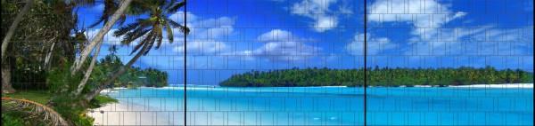Lagune - Panorama XXL bedruckte Sichtschutzstreifen für Doppelstabmattenzaun