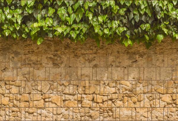 Efeu & Mauer - Bedruckter Sichtschutz Streifen Rolle Doppelstab Zaun