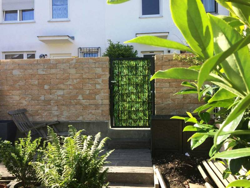 Zaun Sichtschutz Bambusblätter Gartentor