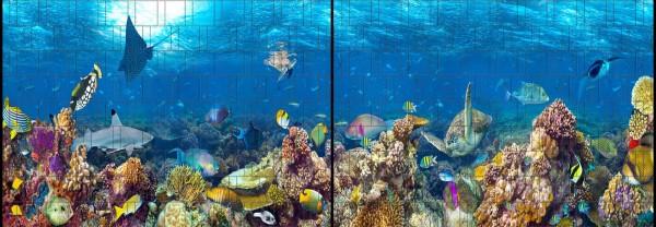 Ozean - Panorama XL bedruckte Sichtschutzstreifen für Doppelstabmattenzaun