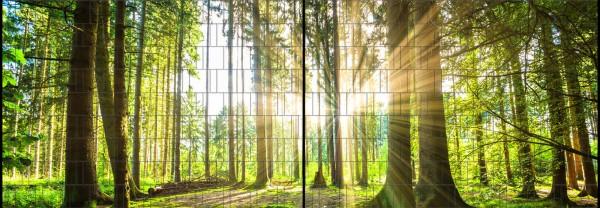 Wald - Panorama XL bedruckte Sichtschutzstreifen für Doppelstabmattenzaun