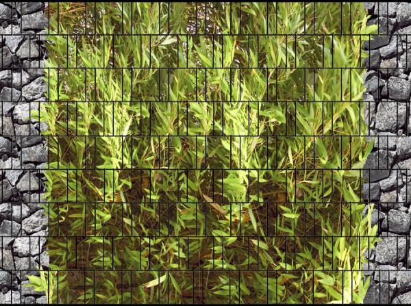 Bambus & Bruchstein groß - Bedruckter Sichtschutz Stabmatten Zaun