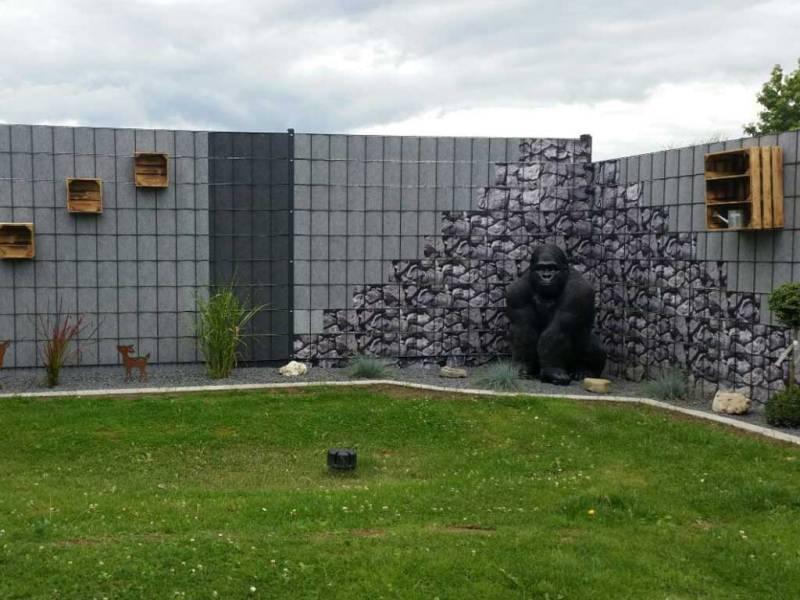 Zaun Sichtschutz Florenz Steinmotiv