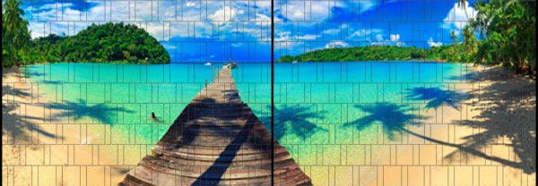Karibik - Panorama XL bedruckte Sichtschutzstreifen für Doppelstabmattenzaun