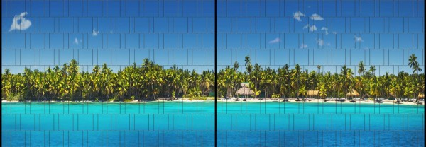 Palm Beach - Panorama XL bedruckte Sichtschutzstreifen für Doppelstabmattenzaun