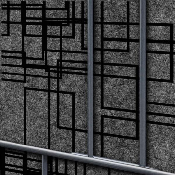 Florenz Squares Dekor Design Vlies Sichtschutz für Doppelstabmattenzaun
