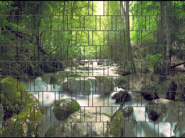 Wasserfall - Bedruckter Sichtschutz Streifen Rolle Doppelstab Zaun
