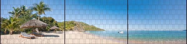 Sandstrand - Panorama XXL bedruckte Sichtschutzstreifen für Doppelstabmattenzaun