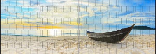 Robinson - Panorama XL bedruckte Sichtschutzstreifen für Doppelstabmattenzaun