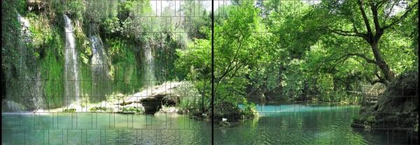 Grotte - Panorama XL bedruckte Sichtschutzstreifen für Doppelstabmattenzaun