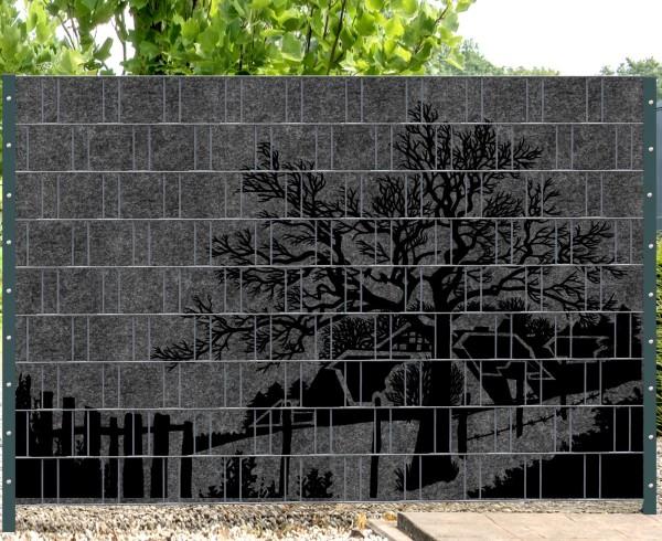 Florenz Country 1 - Melange mit schwarzen Motivdruck