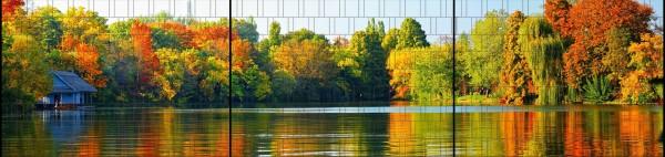 Blätterwald - Panorama XXL bedruckte Sichtschutzstreifen für Doppelstabmattenzaun
