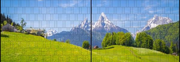 Alpen - Panorama XL bedruckte Sichtschutzstreifen für Doppelstabmattenzaun