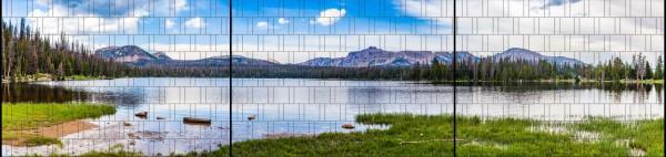 Bergsee - Panorama XXL bedruckte Sichtschutzstreifen für Doppelstabmattenzaun