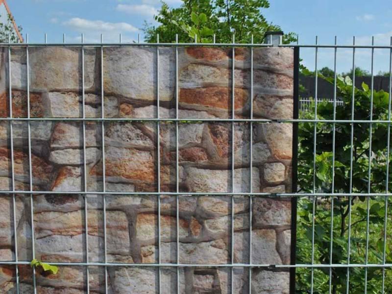 Zaun Sichtschutz Sandstein Klemmschienen