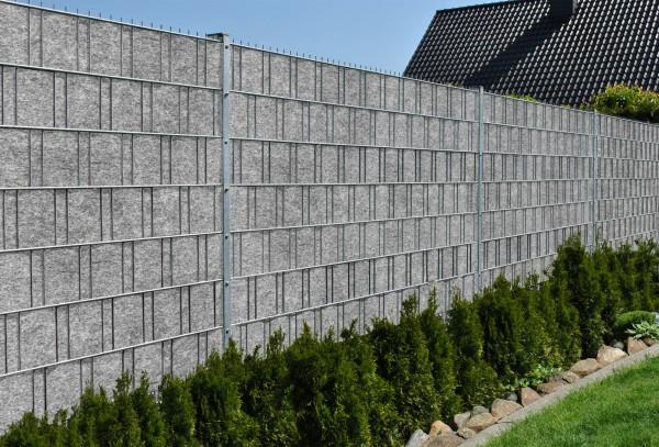 Venezia (hellgrau) - Design Vlies Sichtschutz für Doppelstabmattenzaun