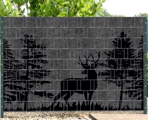 Florenz Forest (Wildnis) 3 - Melange mit schwarzen Motivdruck (Wildnis)