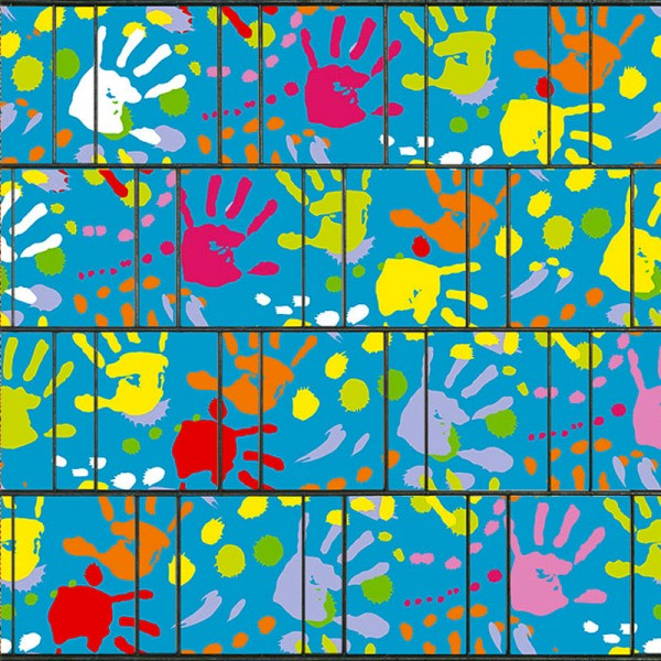 Kindergeburtstag - Bedruckter Sichtschutz Streifen Doppelstabmatten
