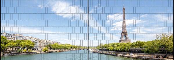 Eifelturm - Panorama XL bedruckte Sichtschutzstreifen für Doppelstabmattenzaun