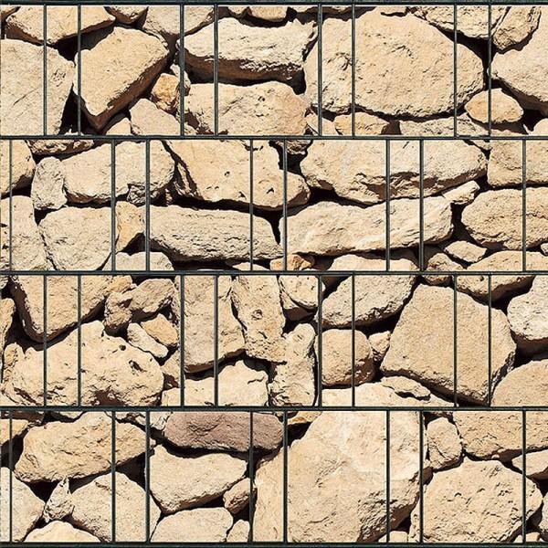 Ibiza - Bedruckter Sichtschutz Streifen Rolle Doppelstab Zaun