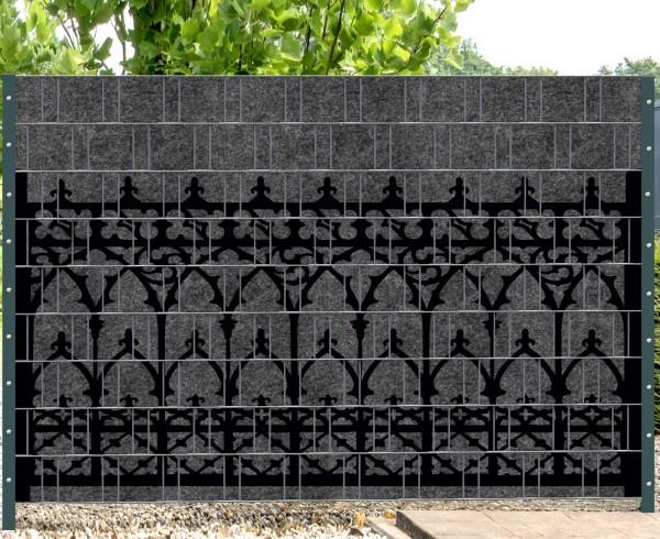 Florenz Fence - Melange mit schwarzen Motivdruck