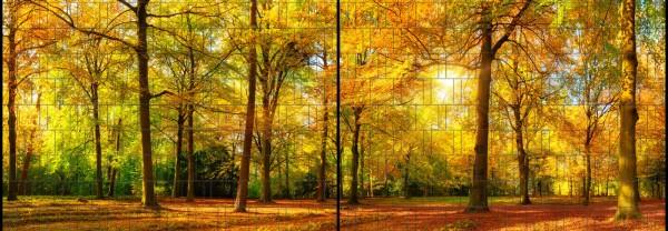 Herbst - Panorama XL bedruckte Sichtschutzstreifen für Doppelstabmattenzaun