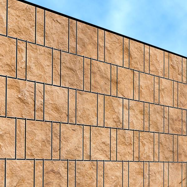 Sandsteinwand - Bedruckter Sichtschutz Streifen Rolle Doppelstab Zaun