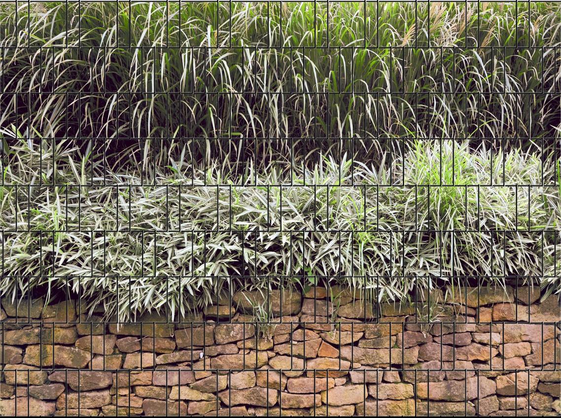 Bedruckter Zaun Sichtschutz Streifen für den Doppelstabmatten Zaun