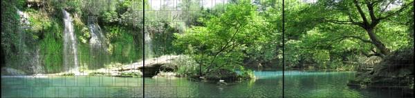 Grotte - Panorama XXL bedruckte Sichtschutzstreifen für Doppelstabmattenzaun